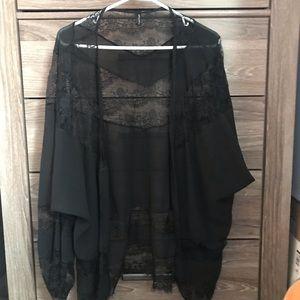 Sheer Lace Black Shawl